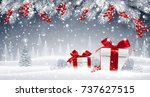 christmas card with gifts on a... | Shutterstock .eps vector #737627515