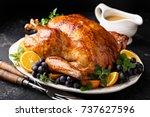 festive celebration roasted...   Shutterstock . vector #737627596