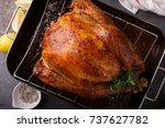 cooked turkey for thanksgiving... | Shutterstock . vector #737627782