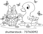 easter duckling with a basket... | Shutterstock .eps vector #73763092