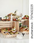 wooden boxes with wine and... | Shutterstock . vector #737632225