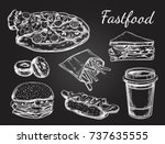 fastfood dishes with drinks.... | Shutterstock .eps vector #737635555