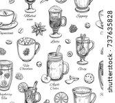 hot drinks. vector christmas... | Shutterstock .eps vector #737635828