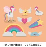cute set fantasy elements... | Shutterstock .eps vector #737638882