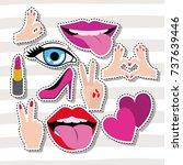 sticker set gesture on pop art... | Shutterstock .eps vector #737639446