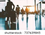 the passengers in the airport ... | Shutterstock . vector #737639845