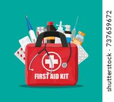 medical first aid kit with... | Shutterstock .eps vector #737659672