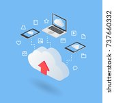 cloud concept isometric style... | Shutterstock .eps vector #737660332