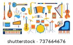 musical instruments isolated on ... | Shutterstock .eps vector #737664676