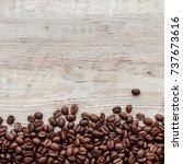 coffee on grunge wooden... | Shutterstock . vector #737673616