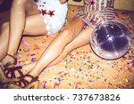 legs of unrecognizable women... | Shutterstock . vector #737673826