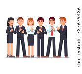standing business men   women... | Shutterstock .eps vector #737679436