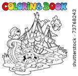 coloring book with shipwreck  ... | Shutterstock .eps vector #73768243