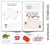letter t. dot to dot... | Shutterstock .eps vector #737686102