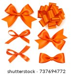 set of beautiful autumn bow for ... | Shutterstock .eps vector #737694772