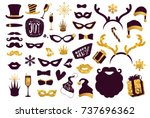 black and gold moustaches  lips ... | Shutterstock .eps vector #737696362