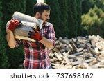 handsome lumberjack carrying... | Shutterstock . vector #737698162