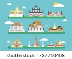 thai temple lifestyle culture... | Shutterstock .eps vector #737710408