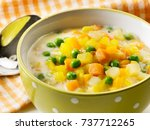 green peas and carrot stew | Shutterstock . vector #737712265