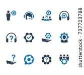 technical support icon   blue...   Shutterstock .eps vector #737723788