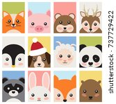 adorable cute baby animals from ... | Shutterstock .eps vector #737729422