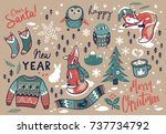 christmas set with winter... | Shutterstock .eps vector #737734792