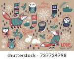 christmas set with winter... | Shutterstock .eps vector #737734798
