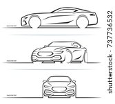 vector sports car silhouettes | Shutterstock .eps vector #737736532
