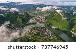 aerial view of cloudscape above ... | Shutterstock . vector #737746945
