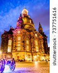 famous frauenkirche in dresden - germany - stock photo