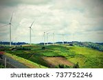 many wind turbines are... | Shutterstock . vector #737752246