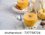 pumpkin spice latte smoothie...   Shutterstock . vector #737758726