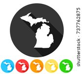 michigan usa symbol icon round... | Shutterstock .eps vector #737762875
