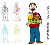 an image of a man holding a box ... | Shutterstock .eps vector #73776703
