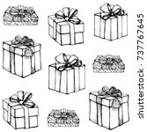 gift   seamless pattern   black ... | Shutterstock .eps vector #737767645