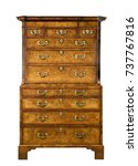 Small photo of bureau on bureau with drawers Antique dresser English European burr veneer also called chest on chest isolated on white with clipping path
