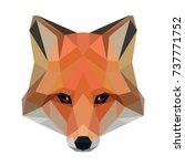 vector polygonal fox isolated... | Shutterstock .eps vector #737771752