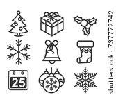 set of christmas icons  winter... | Shutterstock .eps vector #737772742