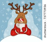 christmas card with cartoon... | Shutterstock .eps vector #737773936
