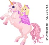 princess and fairy tale unicorn | Shutterstock . vector #737784766