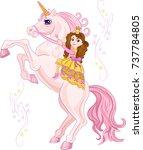 unicorn with beautiful pink... | Shutterstock . vector #737784805