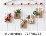 christmas  advent calendar  gift   Shutterstock . vector #737786188