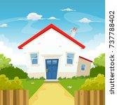 house inside spring garden ... | Shutterstock .eps vector #737788402