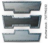 set of horizontal metal plates. ... | Shutterstock .eps vector #737790232