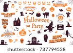 set of halloween labels and... | Shutterstock .eps vector #737794528