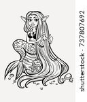 a pretty mermaid with long hair.... | Shutterstock .eps vector #737807692