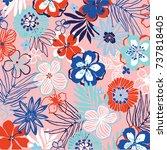 floral pattern   Shutterstock .eps vector #737818405