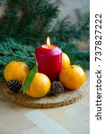 scented  lighted candle  spa ... | Shutterstock . vector #737827222