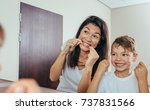 little boy with his mother in...   Shutterstock . vector #737831566