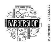 vector doodle barbershop...   Shutterstock .eps vector #737832112